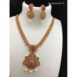 Pink And Green Golden Handmade Jewelry Set