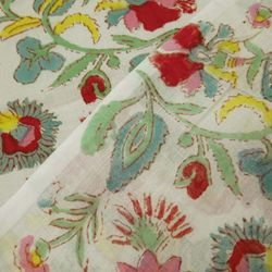 Cotton Block Print Hand Block Printed Fabric, GSM: 50-100, for Curtain Fabric