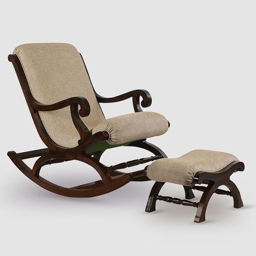 Walnut Brown Beige Teak Wood Rocking Chair With Foot Rest Rs