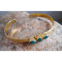 Handmade Gold Plated Brass Gemstone Bangles