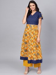 Cotton Gorgeous Blue And Mustard Anarkali