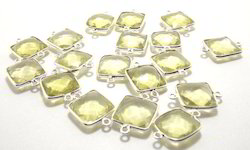 Lemon Quartz Square Shape Bezel Connectors