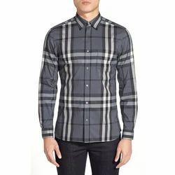 Cotton Checks Men's Shirt, Grey & White, White
