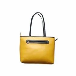 Yellow Party Ladies Leather Shoulder Bag