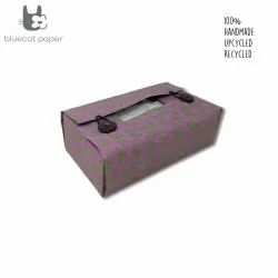 Linen Tissue box cover - mauve big 'U' print