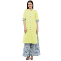 Cottinfab Women's Cotton Kurta With Printed Palazzo