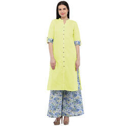 Cottinfab Women's Yellow Cotton Straight Kurta with Printed Palazzo