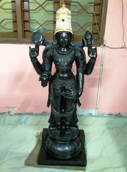 Lord Sri Venkateswara Mahaprabhu in Divine Black Stone 4 Feet With Crown