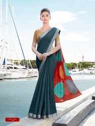 Ikkat Silk Uniform Saree With Blouse Piece