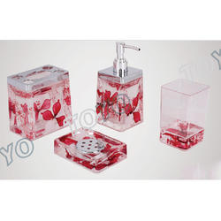 Red Acrylic Bath Set