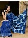 Casual Wear Blue Indigo Sarees, With Blouse Piece