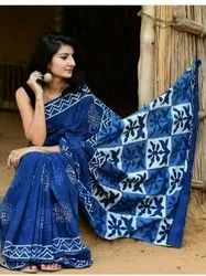 Casual Wear Blue Indigo Sarees, With Blouse Piece
