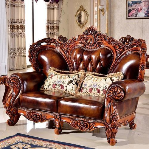 Wooden And Leather U Shape Carved Sofa Set