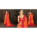 Ladies Orange & Red Cotton Saree, Length: 5.5 M