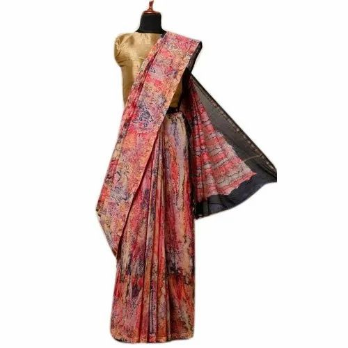 Jishan Enterprises Party Wear Ladies Chanderi Saree, 6.3 m (with blouse piece)