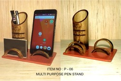 Rural Shades Handcrafted Bamboo Pen/Pencil Stand with Visiting Card Holder and Mobile Stand Holder