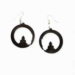 Dark Brown Coconut Shell Meditation Buddha Earrings