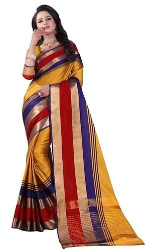 c746eb2f34 Printed Aura Cotton Silk Sarees, 6.3 M (With Blouse Piece), Rs 499 ...