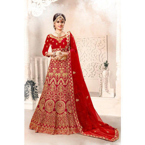 60de8328ad2d Ladies Red Trendy Embroidered Designer Bridal Lehenga, Rs 2895 ...