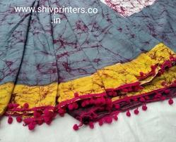 Bagru Hand Block Printed Cotton Saree with Pompom Lace