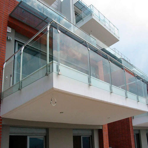 steel balcony glass railing at rs 1500 running feet jawahar nagar