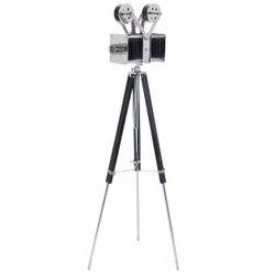 Designer Wooden Tripod Stand Silver Vintage Film Projector Replica Camera