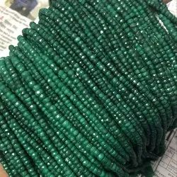 Natural Dyed Emerald Faceted Rondelle Beads