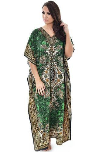 46c5f07f4537 Viscose Women Kaftan Long Dress Poncho Boho Short Kaftan Printed Nightwear