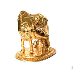 White Metal Golden Laddu Gopal Cow And Calf Idol