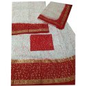 Party Wear White And Red Embroidered Ladies Unstitched Rajputi Poshak