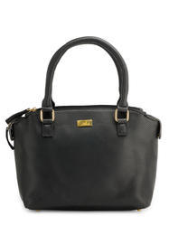 Yelloe Black Handbag In Dotted Effect With Multi Compartment