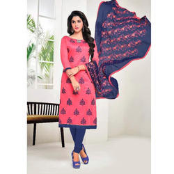 Pink And Blue Chanderi Silk Suit