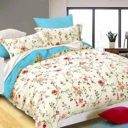 Beige Cotton Printed Bed Sheets