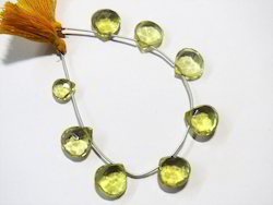 Lemon Quartz Faceted Briolette Natural Stone Beads