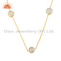 Natural Rainbow Moonstone Gold On Silver Chain Necklace