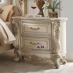 A.m international Wooden silver finished bed side table, Number Of Drawer: 2, Size: 21*21