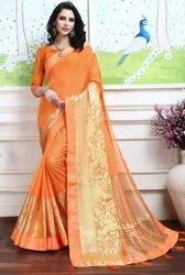 Orange Fancy Party Wear Saree