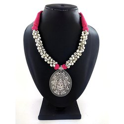 Oxidized Ghunghru Pink Thread Necklace