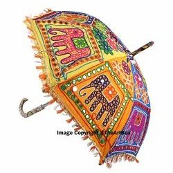 Indian Vintage Handcrafted Patchwork Decorative Embroidery Parasol Handmade Umbrella