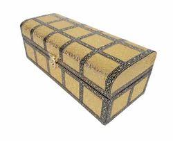 Treasure Chest - Wooden Handmade Dry Fruit Gift Box - Golden