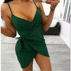 Woman Green Strap Sleeveless Spaggetti V Neck Dress