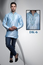 Light Blue Silk Short Kurta for Men