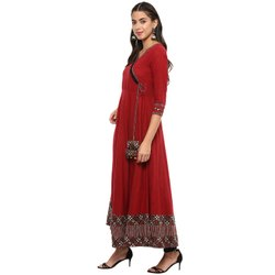 Yash Gallery Women's Cotton Printed Angrakha Style Anarkali Kurta