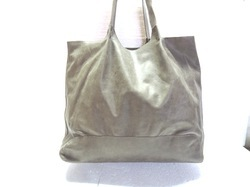 Gray Genuine Leather Tote Bag