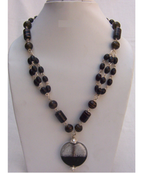 Glass Bead Black, Brown Beaded Chain Necklace