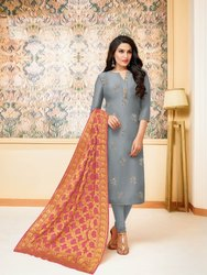Fancy Embroidered Silk Suit