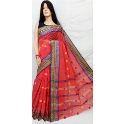 Red Tangail Tant Saree