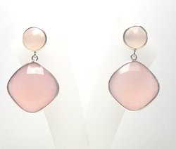 Pink Chalcedony Stud Earrings