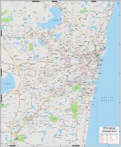 Chennai Map Printed In Vinyl Wall Chart Rajnitik Rajya Nakshe
