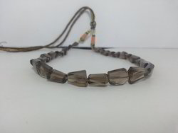 Natural Smoky Quartz Nuggets Faceted Tumble Beads Necklace